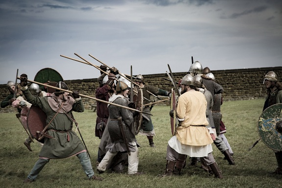 Viking fighters with spears